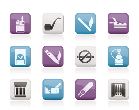 tobacco pipe: Smoking and cigarette icons - vector icon set Illustration