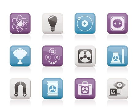 nuclear waste: Atomic and Nuclear Energy Icons - vector icon set
