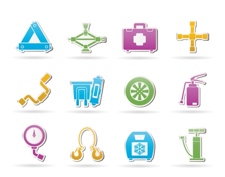 wheel rim: car and transportation equipment icons - vector icon set