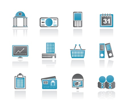 bank office: Business and finance icons - vector icon set
