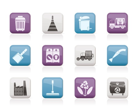 abstract mill: Cleaning Industry and environment Icons - vector icon set