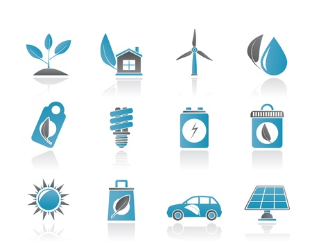 solar house: Green and Environment Icons - vector icon set