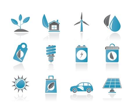 maison solaire: Vert et ic�nes Environnement - jeu d'ic�nes vectorielles