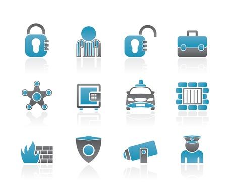 arrozal: los iconos de la seguridad social y de la polic�a - conjunto de icono de vector Vectores