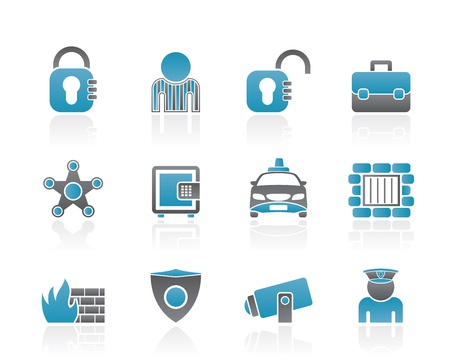 social security and police icons - vector icon set Vector