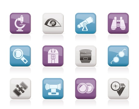 Optic and lens equipment icons - vector icon set Vector