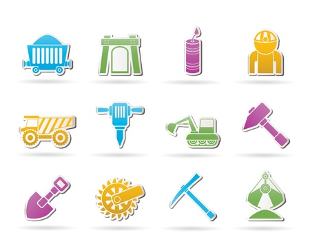 Mining and quarrying industry objects and icons - vector icon set Stock Vector - 10719219