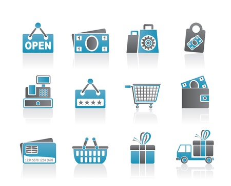 cart cash: shopping and retail icons - vector icon set