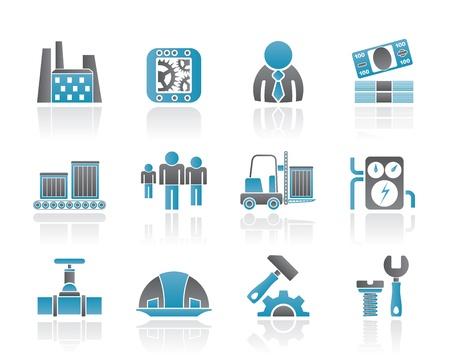 salaires: Ic�nes d'affaires, l'usine et l'usine - jeu d'ic�nes vectorielles