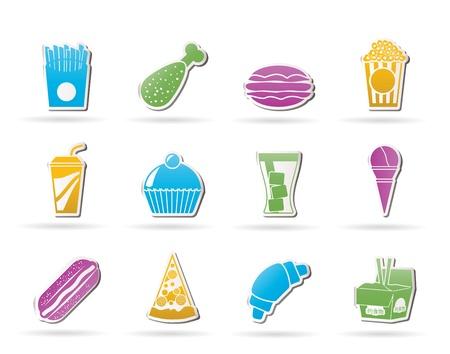 chinese fast food: comida r�pida y los iconos de bebida - conjunto de iconos vectoriales Vectores