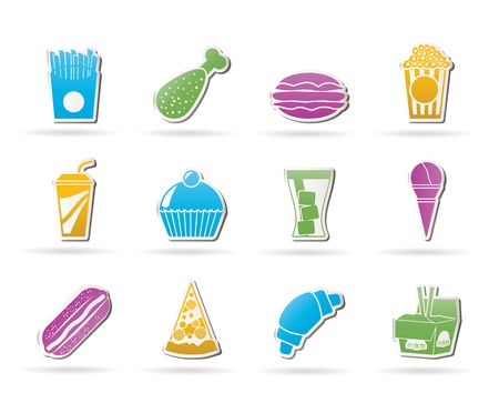 fast food and drink icons - vector icon set Stock Vector - 10719224