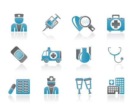 medical computer: Medicine and healthcare icons Illustration
