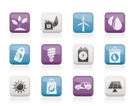 green environment: Green and Environment Icons