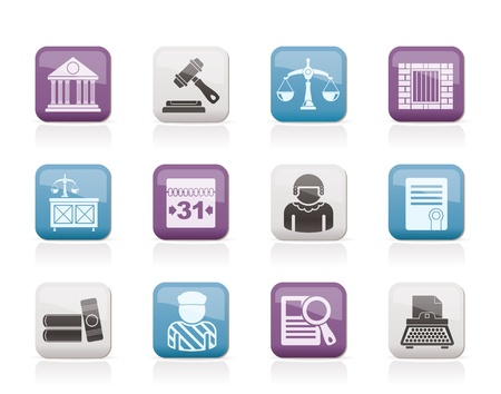 Justice and Judicial System icons Stock Vector - 10860896