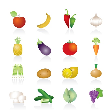 farming sign: Different kind of fruit and vegetables icons