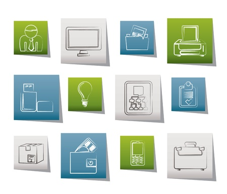 Business and office equipment icons  Stock Vector - 10860905