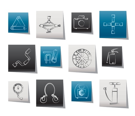 auto en transport apparatuur iconen - vector icon set Stock Illustratie