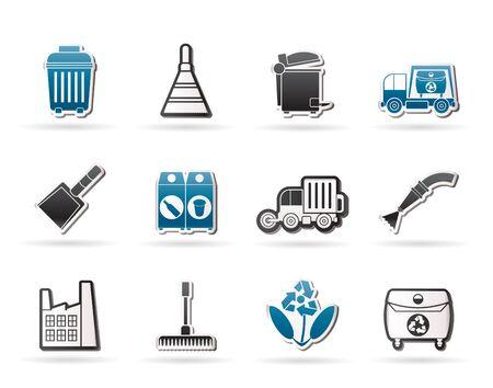 cesto basura: Limpieza de industria y medio ambiente el conjunto de iconos - vector icono Vectores