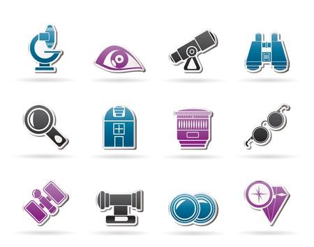 kijker: Optiek en lens apparatuur iconen - vector icon set