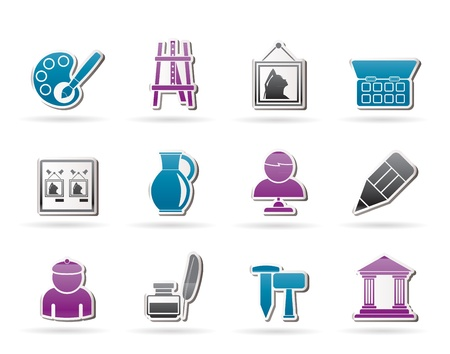 art museum: Fine art objects icons - vector icon set Illustration