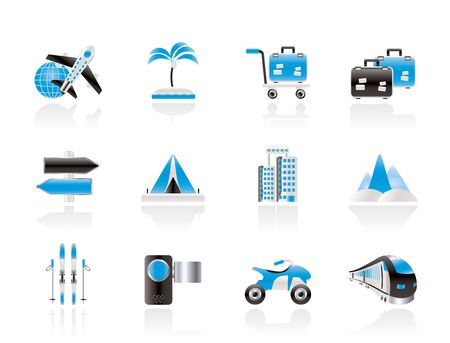 Holiday travel and transportation icons - vector icon set Stock Vector - 10951874