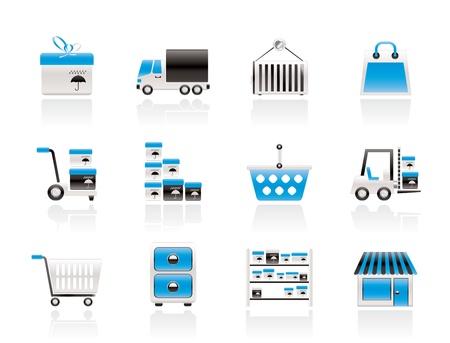 Almacenamiento, transporte, iconos de carga y envío - vector conjunto de iconos