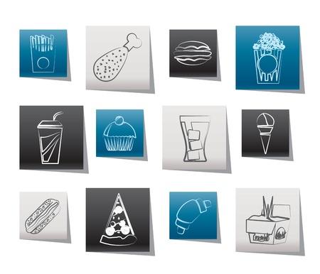 chinese fast food: comida r�pida y bebidas iconos - conjunto de vectores icono Vectores