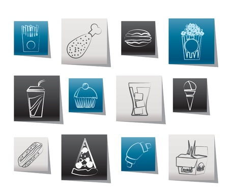 fast food and drink icons - vector icon set Stock Vector - 10951872