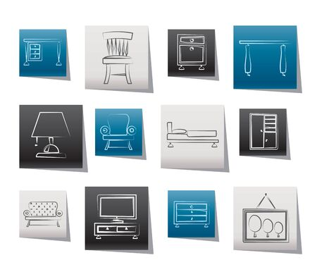 home icon: Home Equipment and Furniture icons - vector icon set Illustration