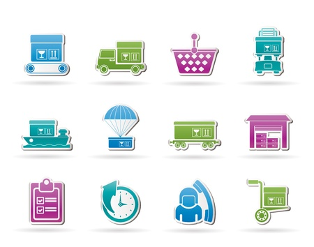 Logistic, cargo and shipping icons - vector icon set Vector