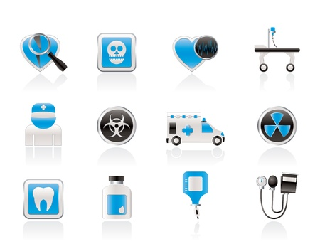 Medicine and hospital equipment icons - vector icon set Stock Vector - 10951860