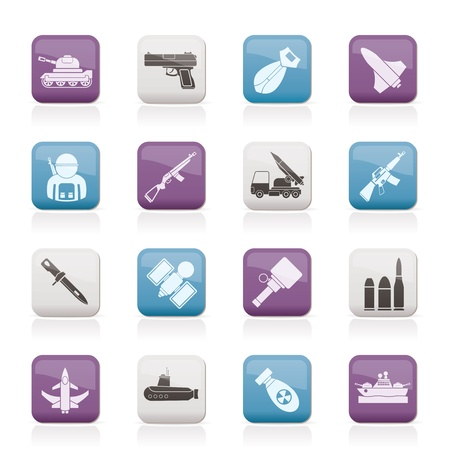 atom bomb: Army, weapon and arms Icons  Illustration
