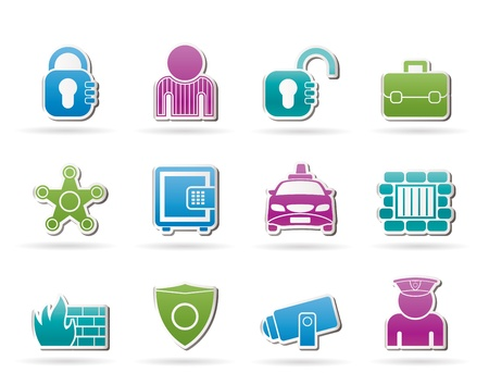 social security and police icons Vector