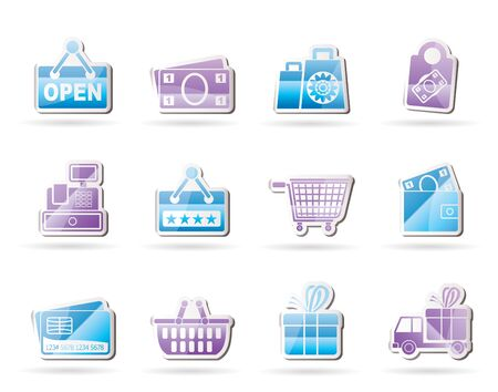 bank cart: shopping and retail icons
