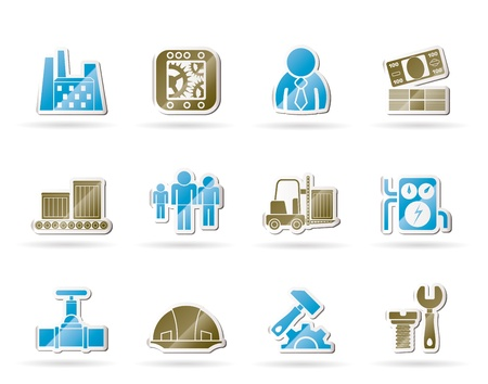 factory workers: Business, factory and mill icons