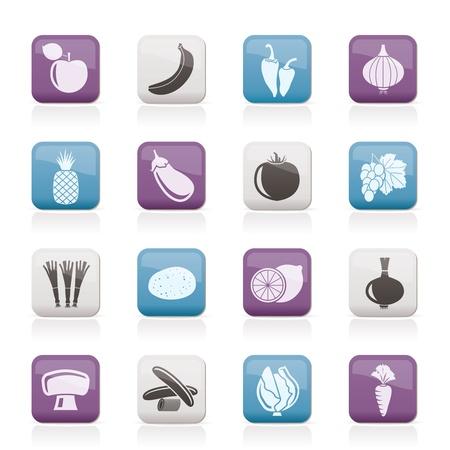 food and drink industry: Diversi tipi di icone di frutta e verdura