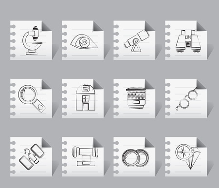 optic: Optic and lens equipment icons