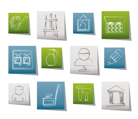 Fine art objects icons Stock Vector - 11107397