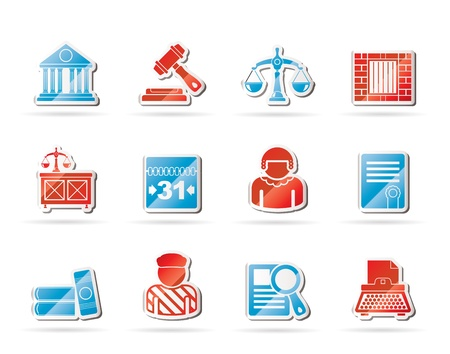 Justice and Judicial System icons  Stock Vector - 11107407