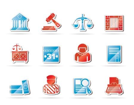 judicial system: La justicia y los iconos del sistema judicial Vectores
