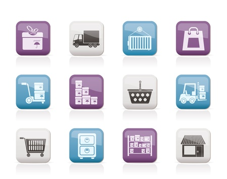 warehouse cargo: Storage, transportation, cargo and shipping icons