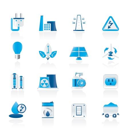 nuclear symbol: potencia, energ�a y electricidad iconos Vectores