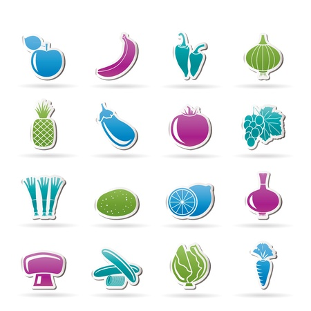 Different kind of fruit and vegetables icons Stock Vector - 11195305