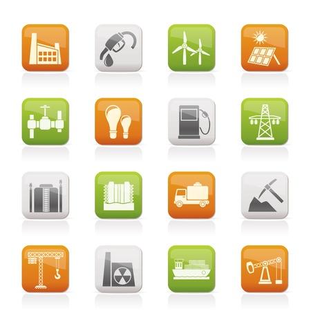 Bedrijfsleven en de industrie iconen Vector Illustratie