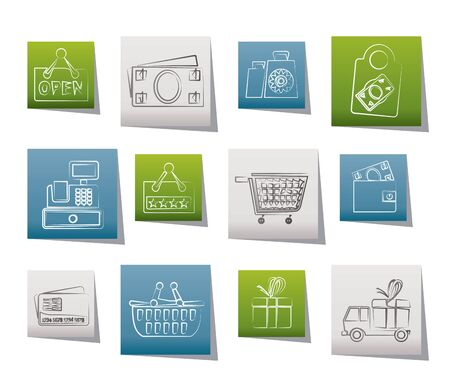 bank cart: shopping and retail icons - vector icon set