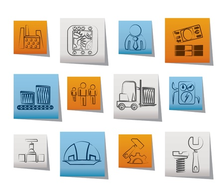 Business, factory and mill icons - vector icon set Vector