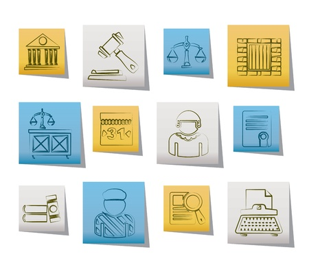 judicial system: La justicia y los iconos del sistema judicial - conjunto de vectores icono Vectores