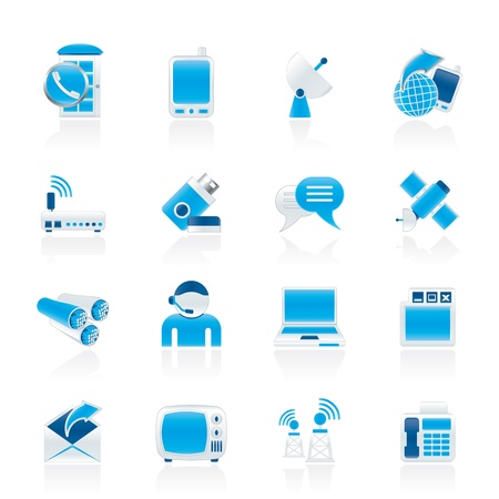 Communication, connection  and technology icons - vector icon set Illustration