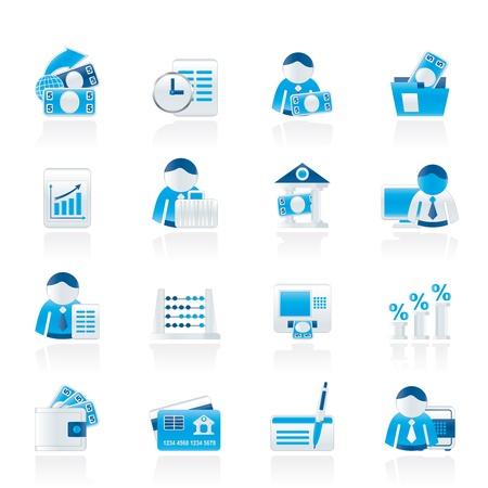 bank manager: Banco de Finanzas e Iconos - Vector Icon Set