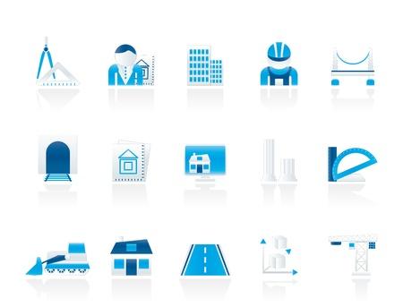 esquemas: la arquitectura y la construcci�n de iconos - iconos conjunto de vectores